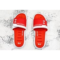 Under Armour Sandals White Red Slides Slippers