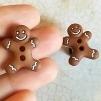 6g 4g 2g / Gingerbread Man Christmas / Plugs Gauges Stretchers Earrings / Stretched Gauged Ears
