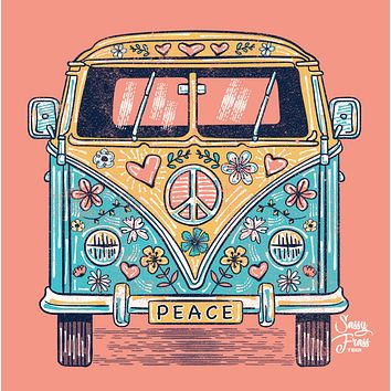 Sassy Frass Hippie Van Peace Bright Girlie T Shirt