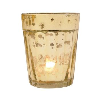 Vintage Mercury Glass Candle Holder (3.25-Inch, Katelyn Design, Column Motif, Gold) - For Use with Tea Lights - Home Decor and Wedding Decorations