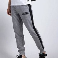 PUMA sport pants men's patchwork drawstring knitted trousers for leisure sports tie pantsuits