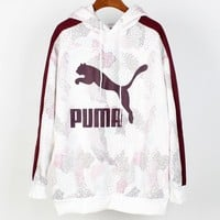 PUMA 2018 winter new plus velvet warm women's hooded sweater white