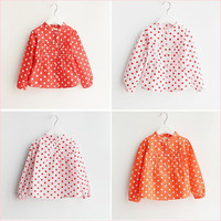 Girls Shirt Sweet Polka Dots Cotton Cute Spring and Autumn New Princess Long Sleeved Kids Coat Little Girl Lace Pleated Temperament Clothing