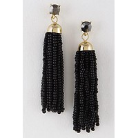 Fun Addition Black Tassel Earrings