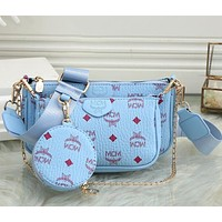 MCM new chain small bag female printing fashion all-match trend clutch bag shoulder bag messenger bag three-piece set