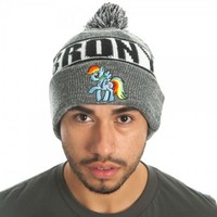 My Little Pony Rainbow Dash Brony Rolled Slouch Beanie Hat - My Little Pony -   TV Store Online
