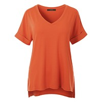 Casual Loose Fit  V-Neck Short Sleeve Stretchy Tunic Top (CLEARANCE)