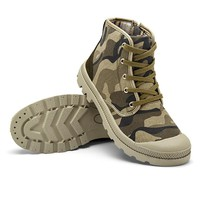 Outdoor Men Plus size Autumn Military Camouflage traveling Camping Climbing Lace Up High Top Sneakers Canvas Sport Walking Shoes