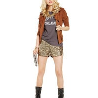 Side Vent Metallic  Sequined Shorts