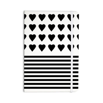 """Project M """"Heart Stripes Black and White"""" Monochrome Lines Everything Notebook"""