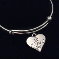 Blessed Be Silver Expandable Charm Bracelet Adjustable Wire Bangle Wiccan Gift
