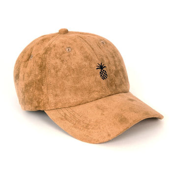 Pineapple Suede Dad Hat (Camel)