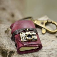Miniature Book keychain Camera & Purple grapes color