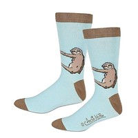 Sloth Men's Socks in Baby Blue | Funny Novelty Socks Men's One Size