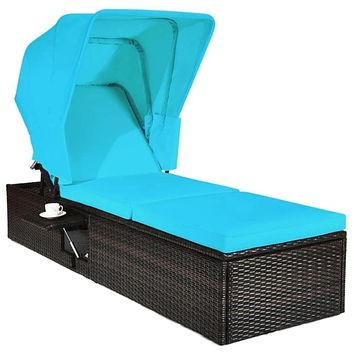 Adjustable Patio Rattan Chaise With Canopy Attached
