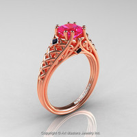 Classic French 14K Rose Gold 1.0 Ct Princess Pink Sapphire Black Diamond Lace Engagement Ring or Wedding Ring R175P-14KRGBDPS