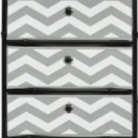 Altra Furniture 4-Bin Kids Storage System with Gray and White Chevron Pattern