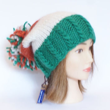Irish handknit green white and orange offaly county hat slouchy hats with pompom fun knitted wool hats for women teenagers child chunky yarn