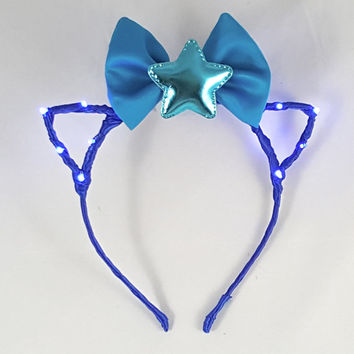 Blue LED headband, Cat ears, Bow headband, Star headband, Rave wear, Cosplay, Cat ear headband, Anime, Festival, Cat ears headband