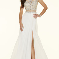 Mock Two Piece Cap Sleeve Prom Dress by Mori Lee