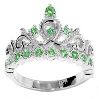 JewelsObsession's 14K Gold Princess Crown CZ Emerald Ring (May Birthstone)