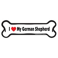 I Love My German Shepherd Bone Car Magnet