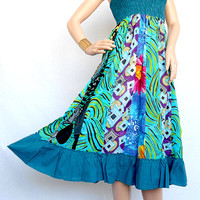 Cotton Patchwork Women Dress Skirt  Cotton Maxi Dress Maternity Wear Skirt Hippie Bohemian Long Skirt Summer Dress Party Wear Clothing Skirt