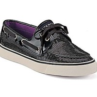 Sperry Top-Sider Shoes Women's Sequin Bahama 2-Eye Black Sequins