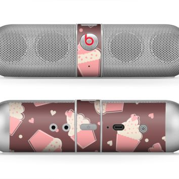 The Pink Outlined Cupcake Pattern Skin for the Beats by Dre Pill Bluetooth Speaker
