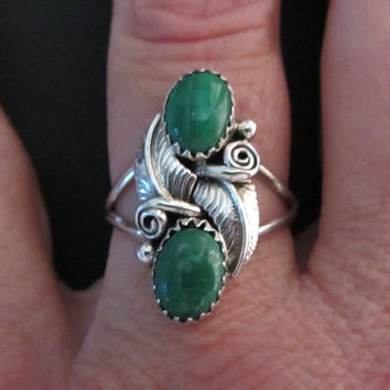 Sterling Silver Signed Native American Malachite Ring Sz 8.5+ Sizable
