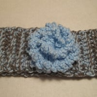 Womens and Girls blue and gray crochet head band ear warmer with pretty crochet flower, winter fashion accessories