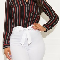 What You Need Striped Blouse Black And Red