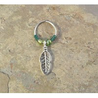 Silver Leaf Feather Cartilage Hoop - You Choose Colors