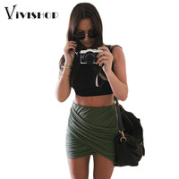 2016 Summer Women Sexy Bandage Skirts High Waist Mini Skirts Womens Pencil Skirt Clubwear Fold Plus Size Pleated Women Skirt