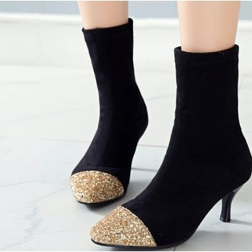 New model contracted 100 build bright flashier suede pointy one foot stiletto follows ankle boot female shoes