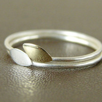 Delicate stacking rings. Two leaves. Sterling silver and gold brass