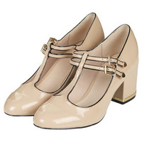 JENNA Patent T-Bar Mid Shoes - Heels - Shoes