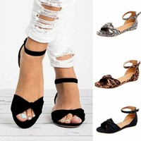 Women Low Heels Peep Toe Sandals Summer Beach Bow Ankle Strap Casual Shoes 5-8.5