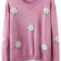Pink Flower Crochet  Ribbed Sweater