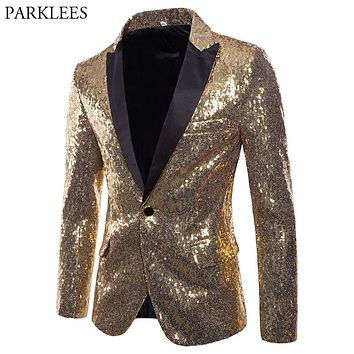 Mens Shiny Gold Sequin Glitter Blazer Jacket Men Nightclub Prom One Button Suit Blazer Men DJ Stage Singer Blazers Costume Homme
