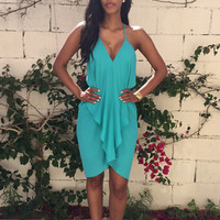 Ruffle Strappy Cocktail Dress