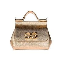 Dolce&Gabbana women's leather cross-body messenger shoulder bag sicily mini gold