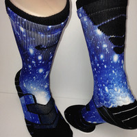 Custom Blue Galaxy Vapor Nike Elite Socks