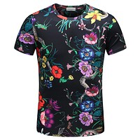 GUCCI Hot Sale Men Casual Flower Print T-Shirt Top Tee Black