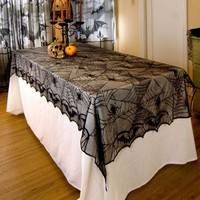 European Classic Design Lace Black Spider Wed Party Decorative Tablecloth Rectangle Tablecover Tablecloth For Halloween Hot New