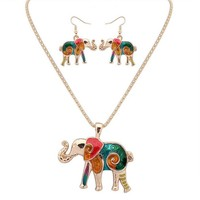 Colorful Enamel Elephant Jewelry Sets For Girls Gold Plated