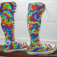 Tie-Dye Converse Shoes XX-Hi  Women sizes one each 7, 7.5, 8 made to order