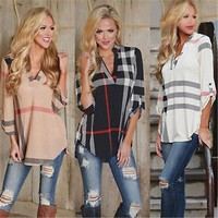 Women's Lady Loose Long Sleeve Casual Shirt Sizes S-XL