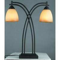Gen-Lite 103993 Galleria Painted Brown Two-Light Desk Lamp