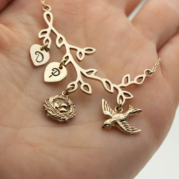 Personalized Mothers Necklace - Handstamped Initials . Gold Bird & Bird Nest Pendant . 14K Gold Fill . Gift Ideas for Her, Mom, Grandmother